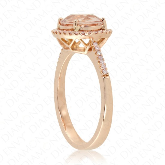 Round Morganite Ring with Pink Diamond Halo