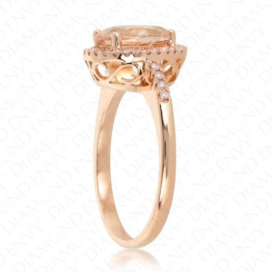 1.82 Carat Pink Diamond and Natural Morganite Ring in 18K Rose Gold