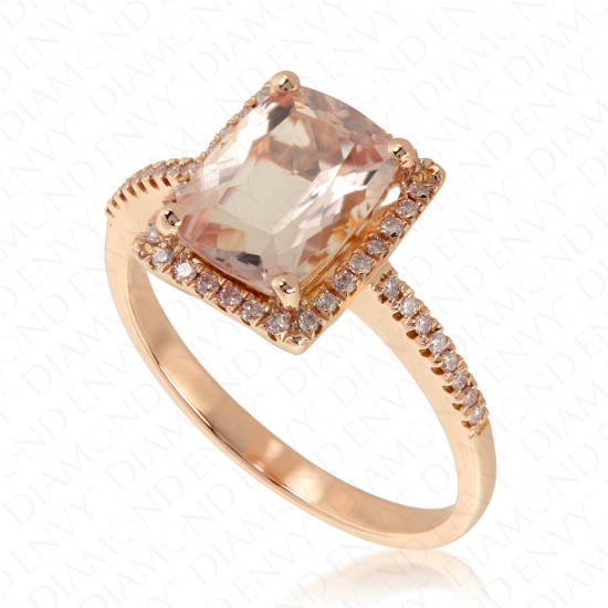 2.03 Carat Pink Diamond and Natural Morganite Ring in 18K Rose Gold