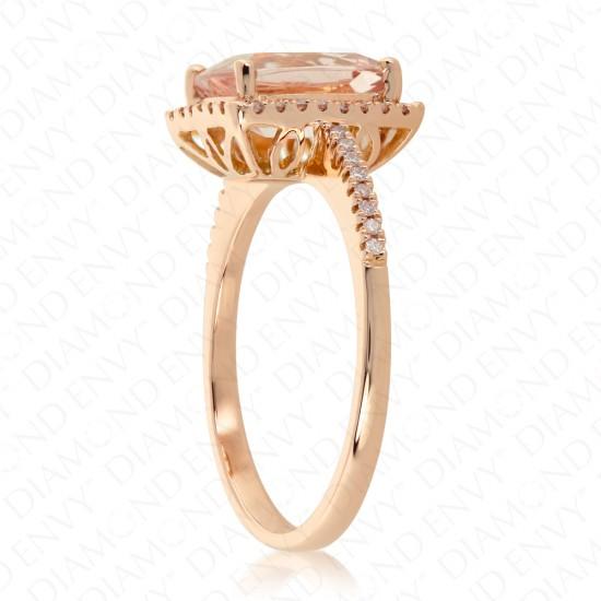 2.03 Carat Pink Diamond and Natural Morganite Ring in 18K Rose Gold