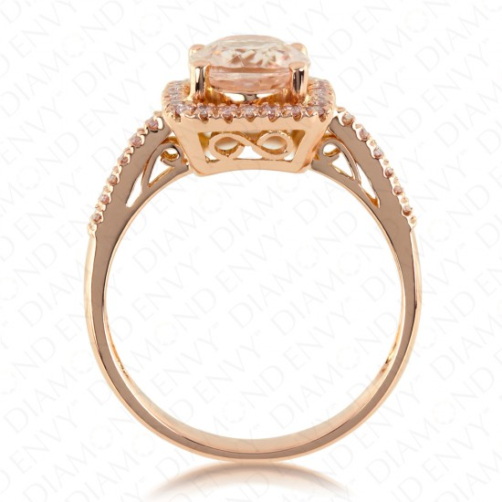2.10 Carat Pink Diamond and Natural Morganite Ring in 18K Rose Gold