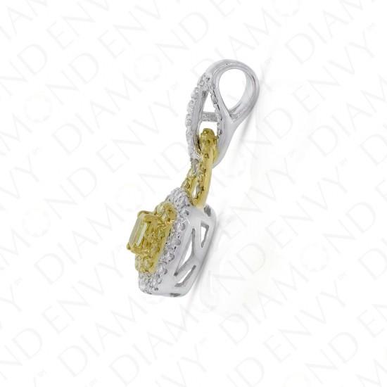 Fancy Yellow Diamond Pendant in 18K Two-Tone Gold
