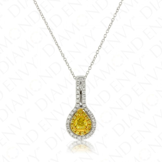 0.60 Carat Fancy Intense Yellow Diamond Pendant in 18K Two-Tone Gold