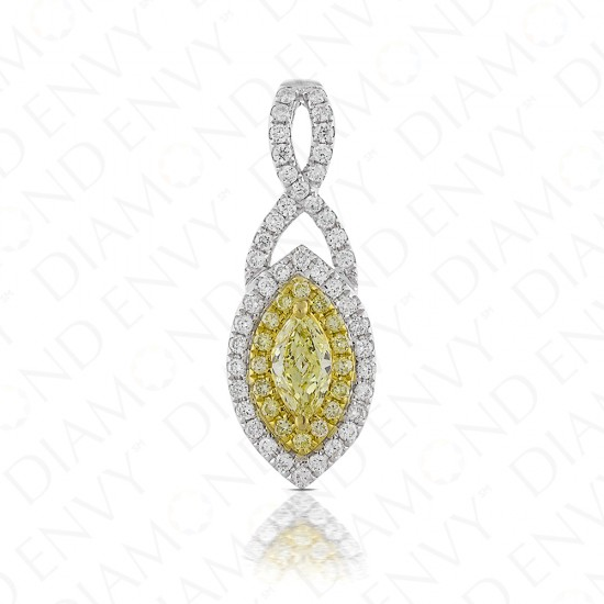Fancy Yellow Diamond Pendant in 18K Two-Tone Gold