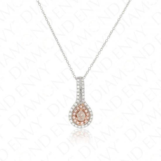 Teardrop Pink Diamond Pendant with Double Halo