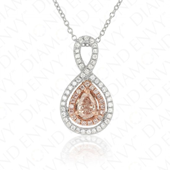 0.50 Fancy Brownish Pink Diamond Pendant in 18K Two-Tone Gold