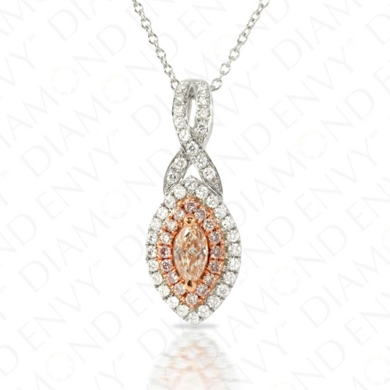 0.65 Carat Fancy Pink-Brown Diamond Pendant in 18K Two-Tone Gold