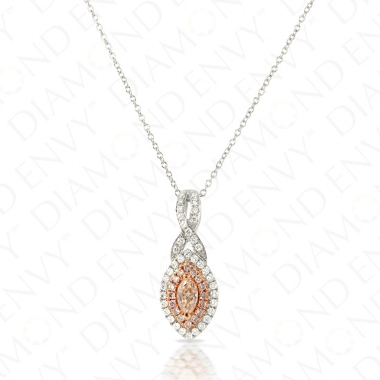 0.65 Carat Fancy Pink-Brown Diamond Pendant in 18K Two-Tone Gold