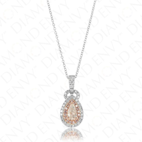 0.74 Carat Light Pink-Brown Diamond Pendant in 18K Two-Tone Gold