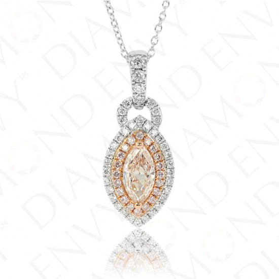 0.90 Carat Fancy Light Pink Brown Diamond Pendant in 18K Two-Tone Gold