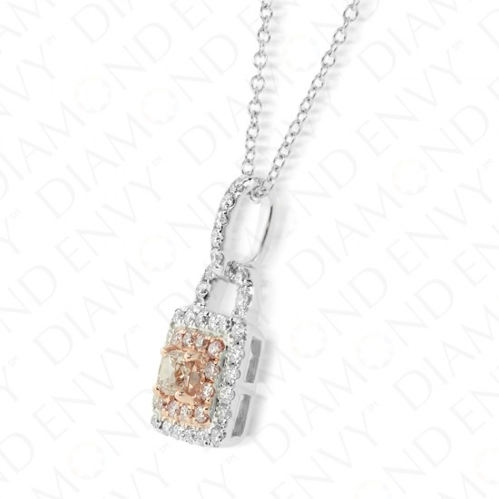 Key Lock Pink Diamond Pendant