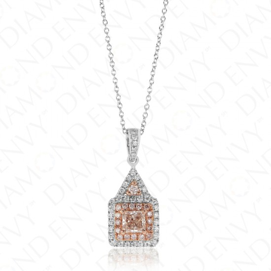 0.94 Carat Fancy Light Pinkish Brown Diamond Pendant in 18K Two-Tone Gold