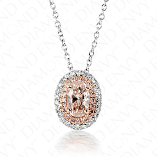 0.57 Carat Fancy Light Brownish Pink Diamond Pendant in 18K Two-Tone Gold