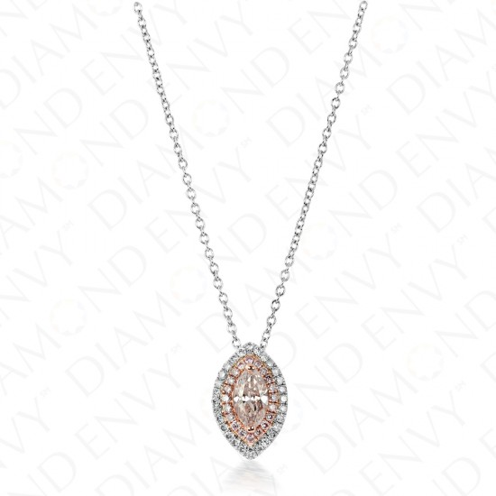 Pink Diamond Pendant with Double Halo on Chain