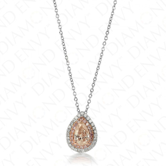 0.87 Fancy Pink-Brown Diamond Pendant in 18K Two-Tone Gold