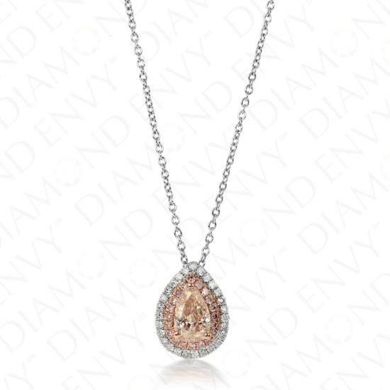 0.87 Fancy Pink-Brown Diamond Pendant in 18K Two-Tone Gold
