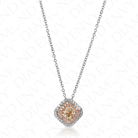 0.50 Fancy Light Pink-Brown Diamond Pendant in 18K Two-Tone Gold