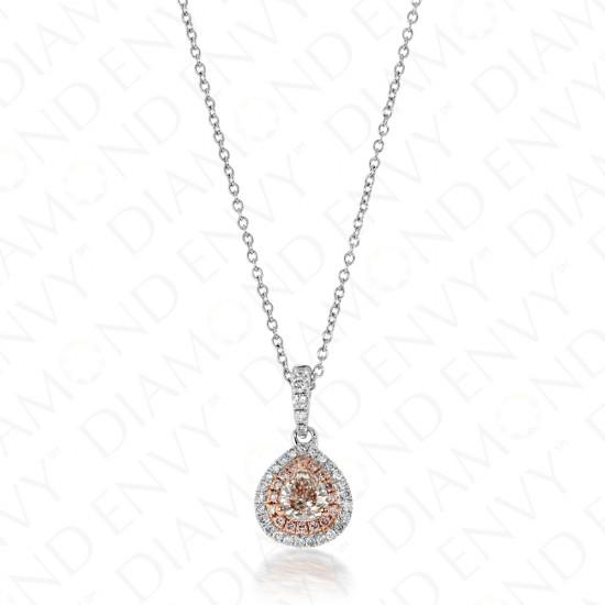 0.62 Carat Fancy Light Brownish Pink Diamond Pendant in 18K Two-Tone Gold