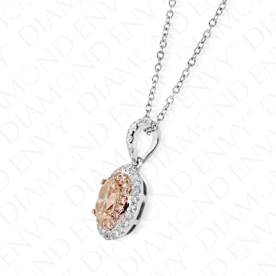 0.66 Carat Fancy Light Pink-Brown Diamond Pendant in 18K Two-Tone Gold