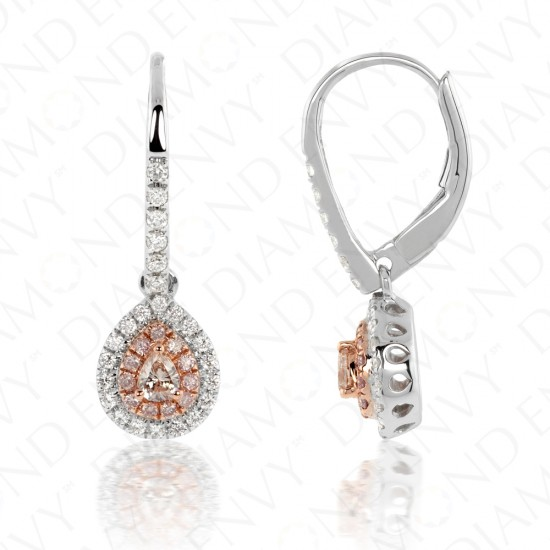 Teardrop Pink Diamond Drop Earrings with Double Halo