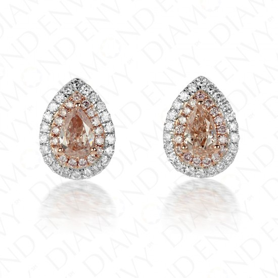 Teardrop Pink Diamond Studs with Double Halo