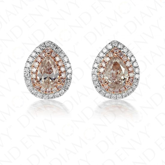 1.45 Carat Fancy Light Pink Diamond Earrings in 18K Two-Tone Gold