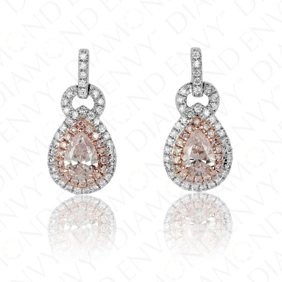 0.88 Carat Fancy Light Purplish Pink Diamond Earrings in 18K Two-Tone Gold
