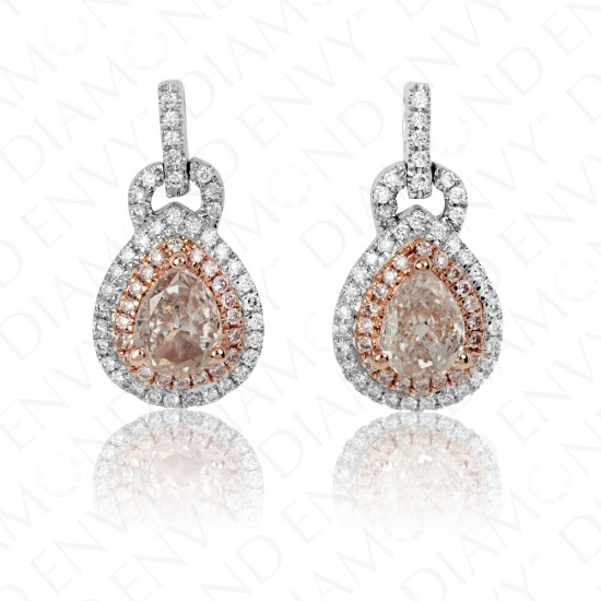 1.21 Carat Fancy Light Brownish Pink Diamond Earrings in 18K Two-Tone Gold