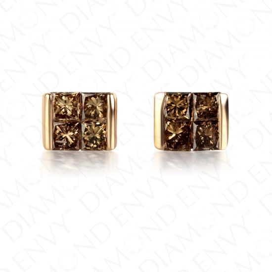 0.54 Carat Brown Diamond Earrings in 14K Rose Gold