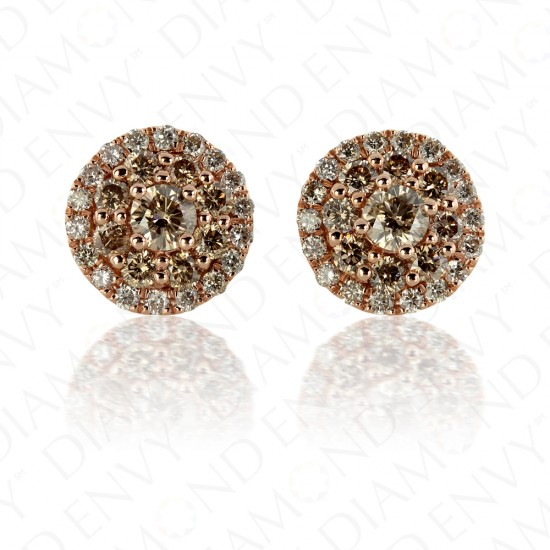 1.26 Carat Brown Diamond Earrings in 14K Rose Gold