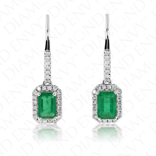 1.52 Carat Diamond and Natural Emerald Earrings in 14K White Gold