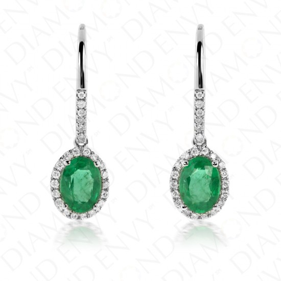 1.55 Carat Natural Emerald and Diamond Earrings in 14K White Gold