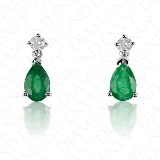 0.86 Carat Diamond and Natural Emerald Earrings in 14K White Gold