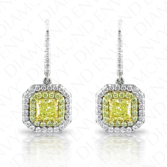 2.51 Carat Fancy Light to Fancy Yellow Diamond Earrings in 18K Two-Tone Gold