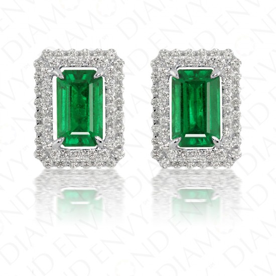 3.19 Carat Natural Emerald and Diamond Stud Earrings in 18K White Gold