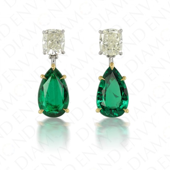 7.72 Carat Diamond and Natural Emerald Earrings in 18K Yellow Gold and Platinum
