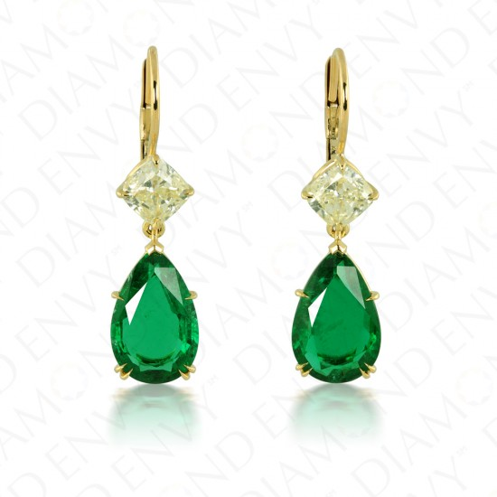 7.06 Carat Fancy Light Yellow Diamond and Natural Emerald Earrings in 18K Yellow Gold