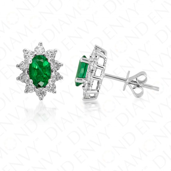 1.53 Carat Diamond and Natural Emerald Earrings in 18K White Gold