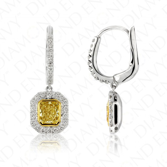1.27 Carat Fancy Deep Brownish Yellow Diamond Earrings in 18K Two-Tone Gold