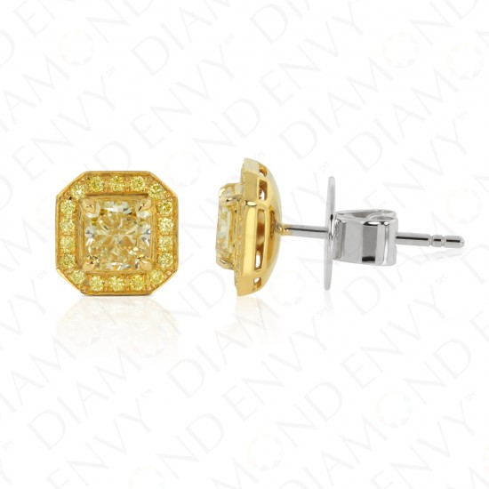Yellow Diamond Stud Earrings with Yellow Diamond Halo