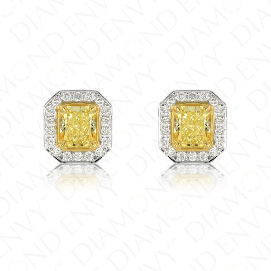 1.34 Carat Fancy Intense Yellow Diamond Earrings in 18K Two-Tone Gold