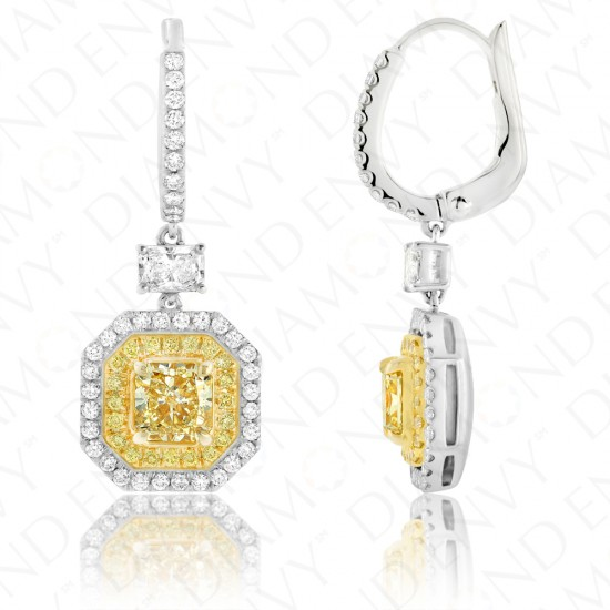 2.23 Carat Fancy Yellow Diamond Earrings in 18K Two-Tone Gold