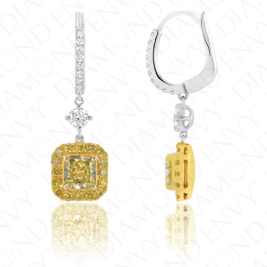 2.10 Carat Fancy Yellow Diamond Earrings in 18K Two-Tone Gold