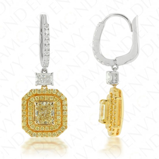 Yellow Diamond Drop Earrings