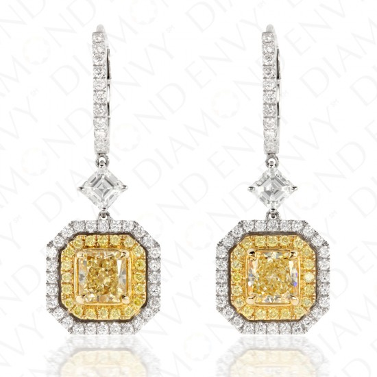 2.29 Carat Fancy Yellow Diamond Earrings in 18K Two-Tone Gold
