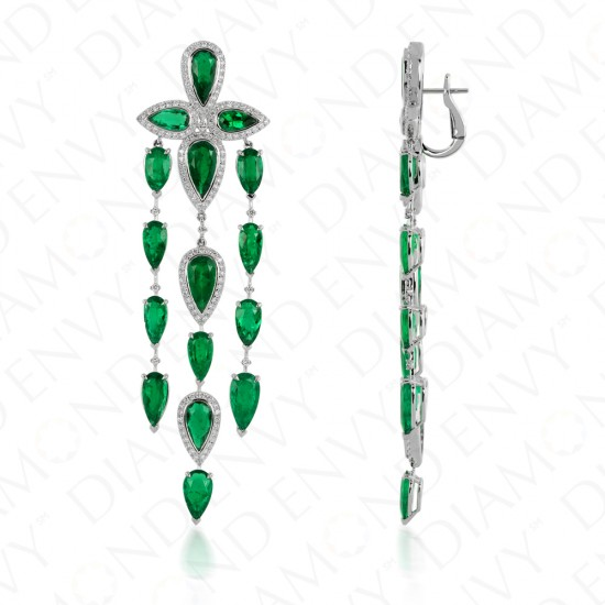 17.78 Carat Natural Emerald and Diamond Chandelier Style Earrings in 18K  White Gold