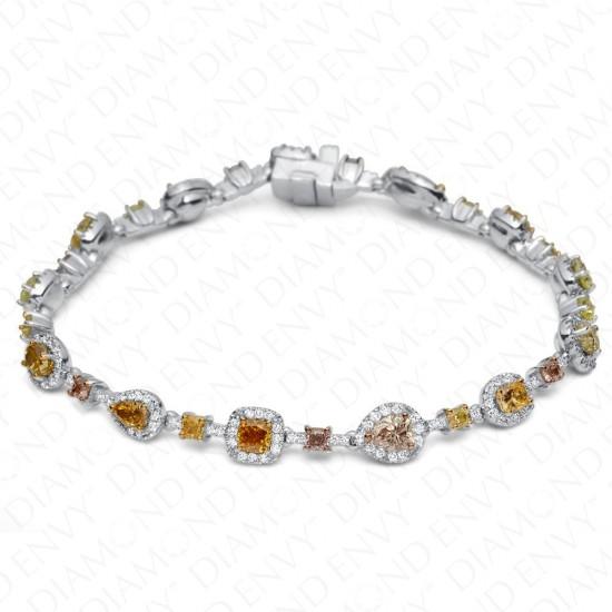 5.93 Carat Multi-Colored Diamond Bracelet in 18K White Gold