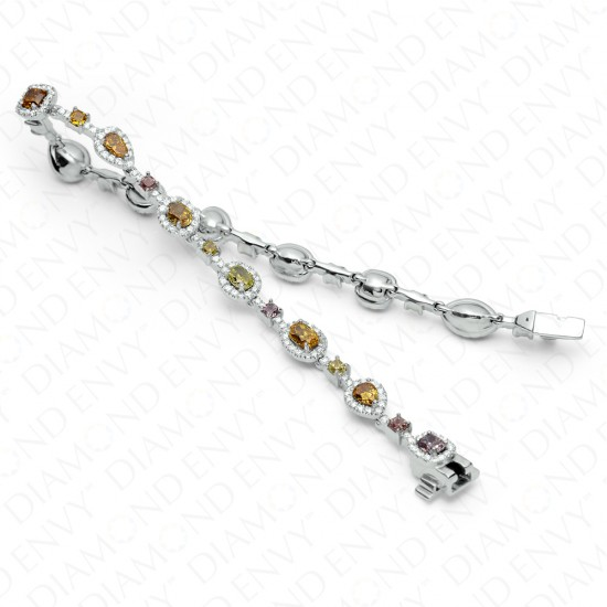 5.93 Carat Multi-Colored Diamond Bracelet in 18K White Gold