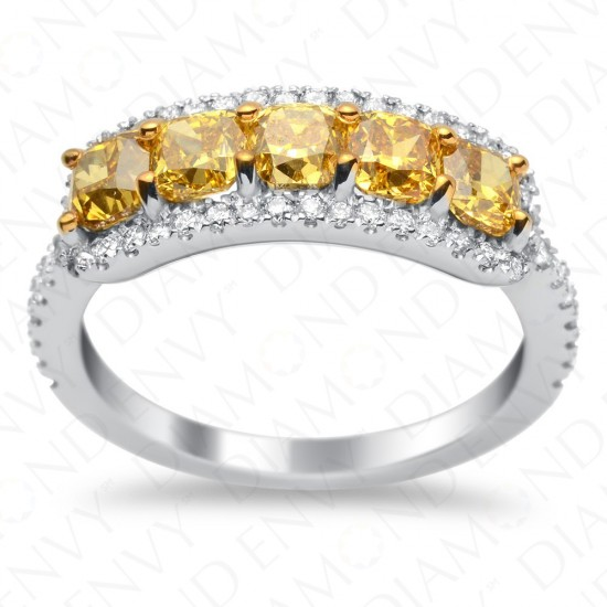 2.12 Carat Fancy Deep Yellow Diamond Ring in 18K White Gold