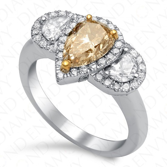 1.97 Carat Fancy Brown Yellow Diamond Ring in 18K White Gold